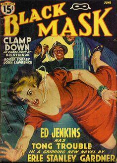 Vintage Black Mask crime fiction pulp magazine cover, June 1940, featuring Erle Stanley Gardner