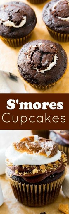 Marshmallow-Filled S'mores Cupcakes - Popular Recipes of Food Blog