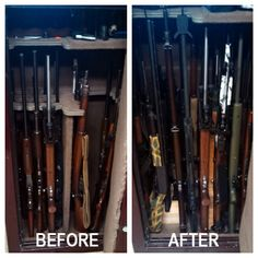 "Gun Safe Before & After pictures.  Maximize space and gain accessibility with Rifle Rods.  Customer's Review:  ""This is a John Deere EM20 Safe.  In the before picture, because of the factory dividers, my husband maxed out at 16 long guns.  In the after picture, 28 long guns fit with the rifle rods.  I purchased the rods for him as a Christmas present and he absolutely loves them!!  That is almost double the storage in his safe."""