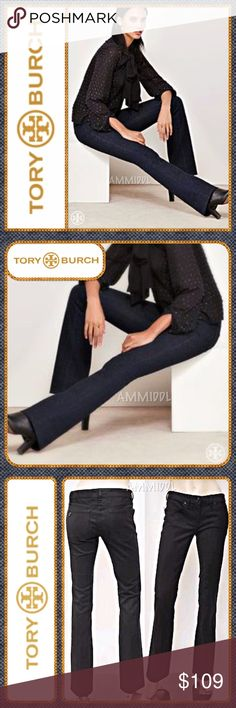 "🆕Tory Burch - Classic Tory Jean Say hello to your new favorite pair of jeans. The perfect amount of stretch for an amazing and comfortable fit. Ultra-saturated black wash. This style looks great on any figure.  Five-pocket detailing, with a slightly higher waist that tapers down the hips & thighs. Works around the clock —from running errands, to work or a night on the town.   Details: 👖TB logo buttons 👖Inseam - 33 1/2"" 👖Waist - 16"" across 👖Rise - 9 1/2"" 👖Leg opening - 9 1/4"" across…"