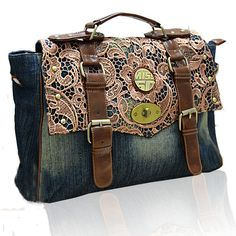 Chic Cool Vintage Style Jeans and Lace Women's Handle/Shoulder/Crossbody Bag
