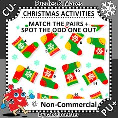 This is winter or winter holidays themed visual puzzle or activity page with set of knitted socks. ***** Commercial use is NOT allowed. ***** Directions: Find the sock that has no pair. Picture puzzle comes as PNG graphic file in full color and of high quality for