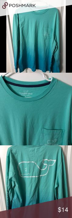 Vineyard Vines Long Sleeve Tee This is a 2 tone shirt from Vineyard Vines . From a baby blue to a aqua blue. Very comfortable long sleeve Tee for that early cold morning . Worn very little . No rips or stains . In a smoke free apartment and pet free. Vineyard Vines Shirts Tees - Long Sleeve