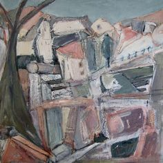 'Ruined Village, Crete, 2010', acrylic and pastel on canvas, 60 x 60cms, Hiawyn Oram. SOLD