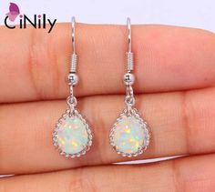 "CiNily Created White Fire Opal Silver Plted Earrings Wholesale Retail Hot Sell for Women Jewelry Earrings 1 1/4"" OH2257 http://amzn.to/2srHSVM"