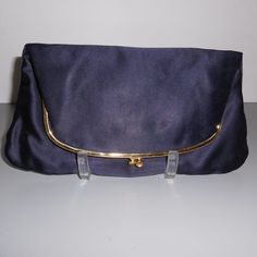Vintage Coblentz Navy Satin Clutch Purse Evening Bag from Not Just MUSI Bows on Ruby Lane #RubyLane