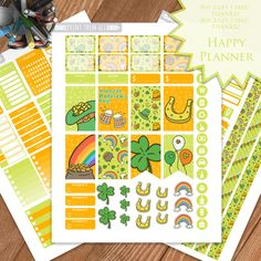St Patrick's Day Planner Stickers Printable, March Kit, HAPPY PLANNER, Monthly/Weekly Kit,Planner kit Happy Planner kit, Instant download by PrintThemAllStudio on Etsy