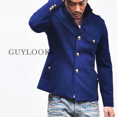 ✔ Japanese Gakuran Inspired Mens Blue Navy High Neck Military Jacket By Guylook | eBay