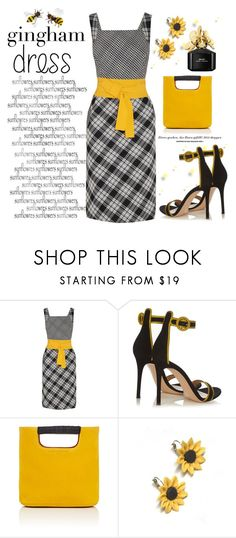 """""""Gingham Dress"""" by conch-lady ❤ liked on Polyvore featuring Oscar de la Renta, Gianvito Rossi, Simon Miller, Summer and Silver, Marc Jacobs, sunflower and ginghamdress"""