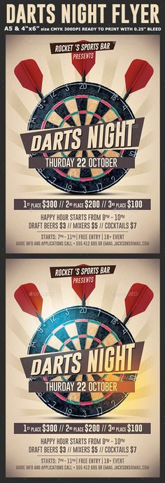 Darts Night Flyer Template PSD #design Download: http://graphicriver.net/item/darts-night-flyer-template/13569789?ref=ksioks