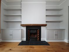 bespoke_alcove_cabinets_and_chunky_floating_shelves_by_Adam_J_Whittle - WTIIPRN Alcove Storage Living Room, Living Room Units, Built In Shelves Living Room, Home Living Room, Living Room Designs, Kitchen Living, Alcove Bookshelves, Alcove Shelving, Studio Apartments