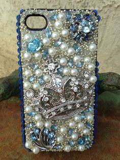 Beautiful Baby Blue and Silver Bling iPhone 4/4s Case . $68.00, via Etsy.