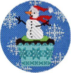 snowman cupcake needlepoint ornament by Kirk & Bradley