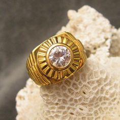 Vintage Sterling Ring Rhinestone Gilt H162 by EHaskellVintage, $65.00