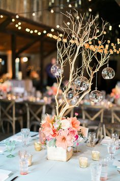 Magnolia Plantation Wedding with Sequins tree branch centerpiece - photo by Troy Grover Photographer Indian Wedding Centerpieces, Wedding Flower Arrangements, Wedding Flowers, Wedding Decorations, Tree Branch Centerpieces, Flower Centerpieces, Centerpiece Ideas, Centrepieces, Magnolia Plantation