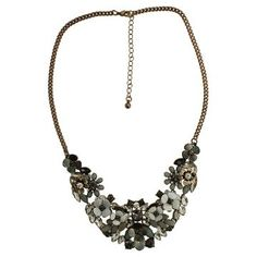 "Women's Fashion Statement Necklace - Gold/Multicolor (16"")"