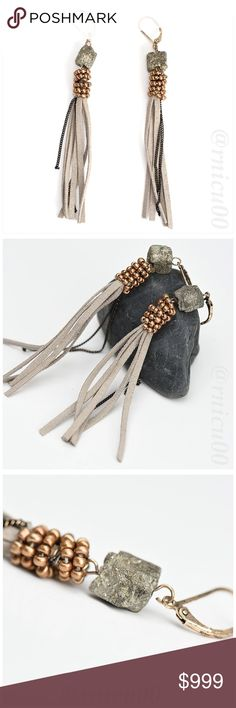 🆕Leather Tassel Natural Stone Bead Boho Earrings! 🆕Gorgeous Natural Ore Stone, Suede Leather Tassel & Gold Bead, Boho Earrings! Antique, worn-Gold Look, Nickel, Lead & Cadmium Free, Lever-back style, Approx. 4.2g weight; Bundle with Matching Boho Accessories & Save!  *NO TRADES *Prices are FIRM-Listed at Lowest Price Unless BUNDLED! *Sales are Final-Please Read Descriptions! My Boutique Jewelry Earrings