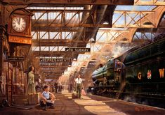 Great Western Railway No. 6008 'King James II' at Birmingham Snow Hill Station in From a painting by Philip Hawkins. Hill Station, Train Station, Steam Railway, Train Pictures, Art Pictures, Train Art, Railway Posters, Steam Engine, Steam Locomotive