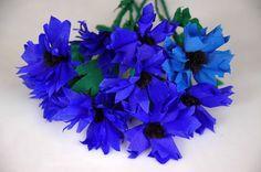 Kwiaty z bibuły - chabry Crepe paper flowers DIY