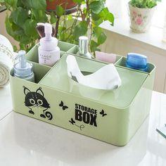 1pcs Multi-function Plastic Storage Box Container tissue box Remote Controller Storage Container Tin Box Desk Makeup Organizer
