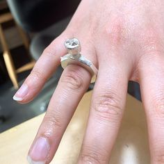 Carmel carved a ring from wax and added a gumnut to her piece, which she then sandcast in silver. The other piece was cast from a piece of coral and will be set into a ring. There is so much detail visible in each piece.