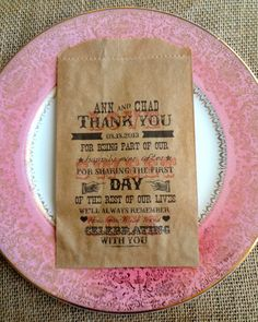 100 Rustic Wedding Favor Bags Personalized by RootedManor on Etsy, $50.00