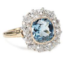 Platinum & Gold in a Diamond & Aquamarine Cluster Ring $3,875
