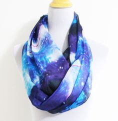Blue Galaxy Infinity Scarf Infinity scarf with galaxy print Silky Scarf with Galaxy Pattern by dailyaccessoriez on Etsy https://www.etsy.com/listing/120937604/blue-galaxy-infinity-scarf-infinity