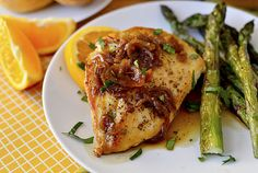 Blue Moon (beer) orange chicken with caramelized onions and roasted asparagus  {Iowa Girl Eats}