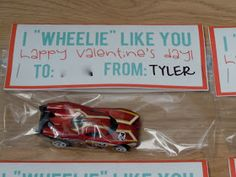 Class Valentines for boys - PERFECT! My Tyler loves to take extra Hot Wheels to share w the other boys at school, then makes sure to recover them at the end of the day. This way....they can all keep one :)