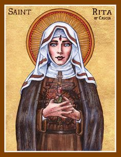 """St. Rita of Cascia May 21st 2014 4.5 x 6 inches Ink, watercolor, gold leaf """"Blessed are the peacemakers: for they shall be called the children of God."""" ~ Matthew 5:9 Happy Feast of St. Rita, patron..."""
