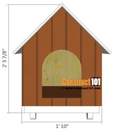 Small Dog House Plans - Step-By-Step - Free Download - Construct101 Small Dog House, Small Dogs, Diy Wooden Projects, Wooden Diy, Pallet Ideas To Sell, Dog House Plans, Plan Front, Animal Projects, Dog Houses