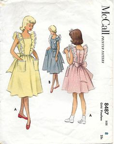 McCall 8487 1950s Girls Pinafore Vintage Sewing Pattern,by GrandmaMadeWithLove