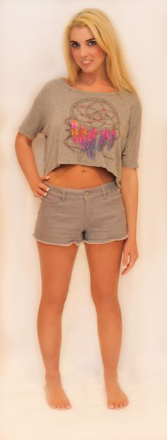 """Get 20% OFF this gray dream catcher top with coupon code """"love20"""" <3 http://kalynbraun.com/products-page/clothes/tops/short-sleeves/gry-flare-top/"""