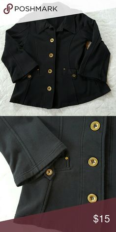 Three Hearts Black Knit Jacket Big bold buttons. Front pockets. 80%cotton and 20 polyester. Three Hearts Jackets & Coats
