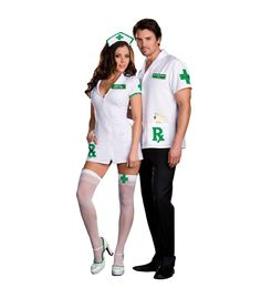 Medical Mary Jane and Dr. Herb Smoker Couple Costume