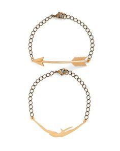 The Arrow and Bird Bracelet Gold by JewelMint.com, $44.00