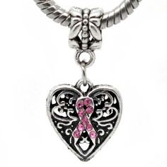 Antique`d Silver Bead Charm, Breast Cancer Awareness Dangle $4.75 #bestseller