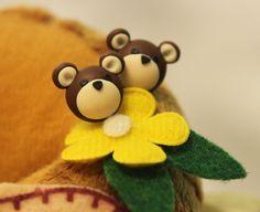Teddy Bear Ear Posts, Polymer Clay Animal Theme Jewelry. $10,00, via Etsy.