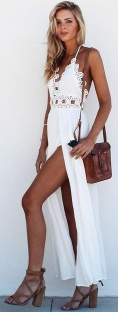 #summer #musthave #outfits | White Maxi Dress Source