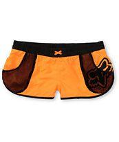 Fox Girls Vented Neon Orange & Black Board Shorts