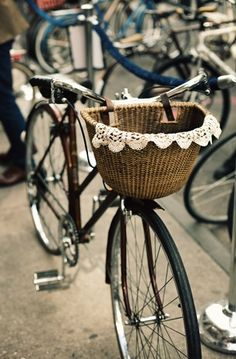 vintage bicycle + basket with lace