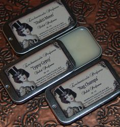 One solid original Gothic Victorian, highly concentrated perfume in a 1/2 oz slide tin. The base is made from nothing more that a skin healthy raw Palm Butter, and a hint of Organic Jojoba oil. This formulation is perfect for those with dry skin, and who have a difficult time getting fragrances to last.    A fine, dark mixture of sandalwood, coffee & cocoa with a splash of dreamy french vanilla cream, whiskey, a touch of exotic allspice, sage and some pumpkin liqueur to top it all off.