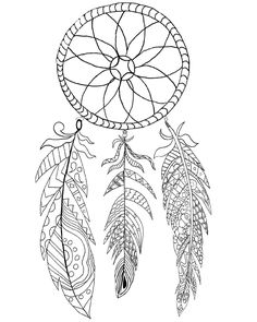 black and white dream catchers coloring pages | 7 Best Dream Catcher Coloring Pages images | Dream catcher ...
