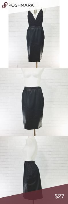 "Vintage Adolfo Saks Fifth Ave Black Satin Pencil A classic vintage staple. Waist= 13"" Hips= 19 Length= 23"" Saks Fifth Avenue Skirts"