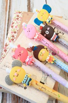 cute cartoon retractable pens with a animal themed pen clips - so cute!!! ideal for school/office use or as a small present available in various