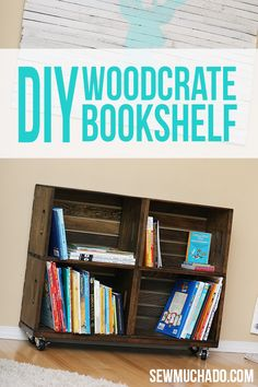 DIY Wood Crate Bookshelf