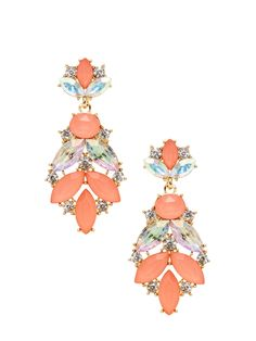 Coral & Gold Drop Earrings by Leslie Danzis at Gilt