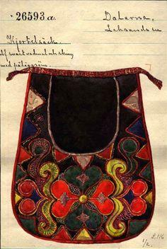 FolkCostume&Embroidery: Kjolsäcken, Loose Pockets of Leksand, Dalarna, Sweden Scandinavian Embroidery, Swedish Embroidery, Scandinavian Folk Art, Wool Embroidery, Swedish Style, Swedish Design, Sewing Pockets, Leather Store, Textiles