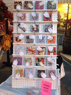 great way to display coasters. Now all I need to do is find a peg board!! Great Craft Stall Display